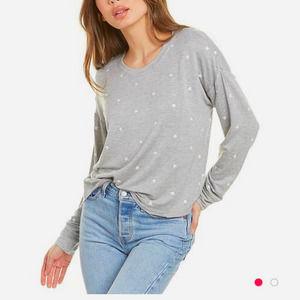 Splendid NWT Star embroidered grey Pullover sz XL
